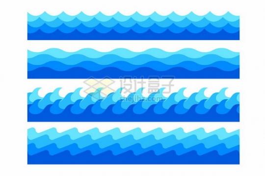 4款蓝色海浪波浪浪花图案561895png图片素材