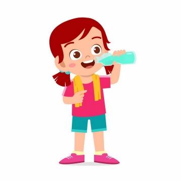 卡通健身锻炼以后喝水的女孩png图片免抠素材