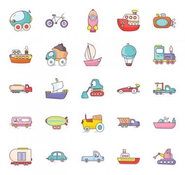 25款卡通风格汽车自行车火箭轮船潜水艇等交通工具icon图标图片免抠矢量素材