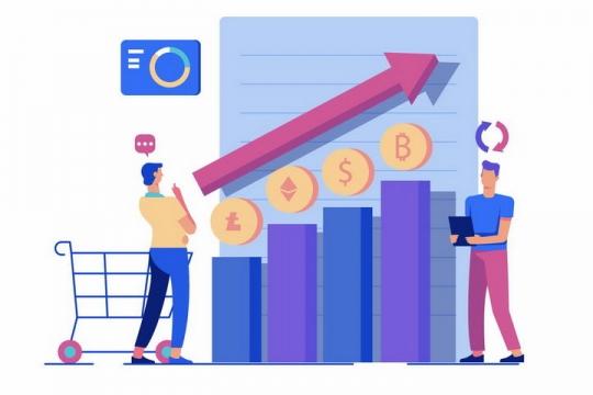 扁平化风格观察各种虚拟货币增长曲线的商务人士png图片免抠矢量素材