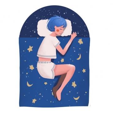 卡通女孩正在睡觉晚安最美362809png图片素材