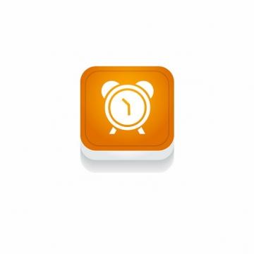 橙色闹钟时间3D立体圆角图标426471免抠图片素材