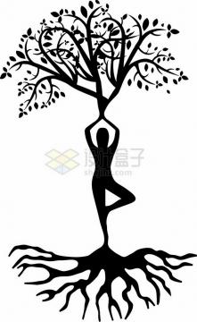 抽象人体大树和树根png免抠图片素材