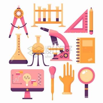 粉色扁平化风格圆规试管架三角尺烧瓶显微镜记事本滴管放大镜等png图片免抠矢量素材