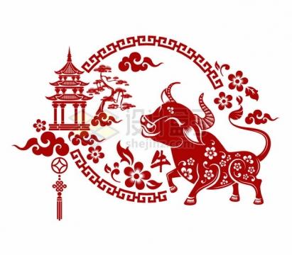 2021年牛年中国风红色剪纸贴花窗花613209png矢量图片素材