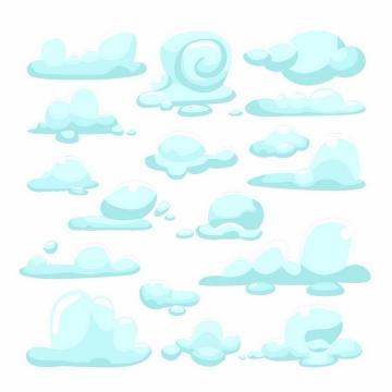 各种淡蓝色的卡通云朵云彩png图片免抠eps矢量素材