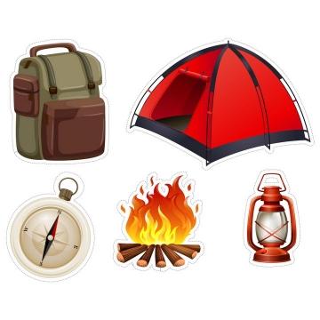 卡通风格双肩背包帐篷指南针篝火煤油灯等户外旅行装备图片免抠矢量素材