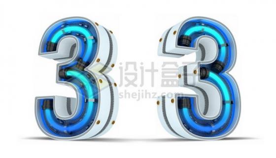C4D风格蓝色霓虹灯管3D立体数字三3艺术字体255573psd/png图片素材