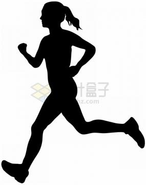 跑步的女人健身锻炼剪影png图片素材