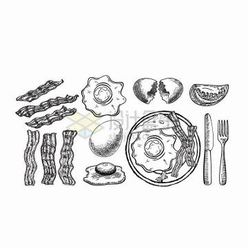 手绘风格的培根煎蛋美味早餐png图片免抠矢量素材