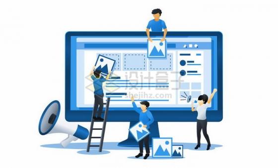 蓝色扁平插画风格电脑上传图片操作png图片免抠矢量素材
