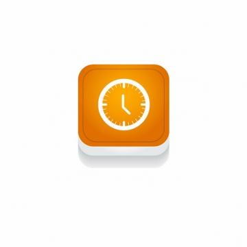 橙色时钟时间3D立体圆角图标810236免抠图片素材