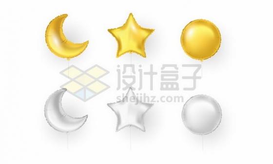 金色和银色心形五角星圆形气球135274eps矢量图片素材