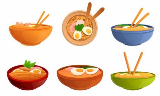 6款卡通风格加了鸡蛋的面条美食png图片免抠素材