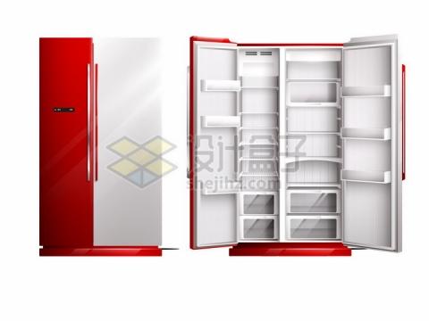 红白色的双门对开电冰箱的打开和收起状态家用厨房电器png图片素材