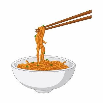 用筷子夹起来的一碗面条美味食物png图片免抠矢量素材