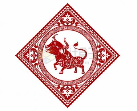 2021年牛年中国风红色剪纸贴花窗花407043png矢量图片素材