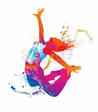 跳跃的年轻人彩绘泼墨风格青春插画png图片素材