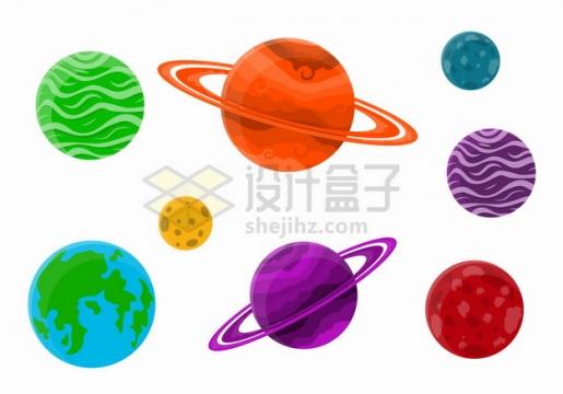 太阳系八大行星水彩插画png图片素材